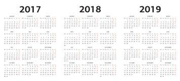 Wektorów kalendarzowi szablony 2017, 2018, 2019 Obrazy Stock