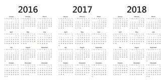 Wektorów kalendarzowi szablony 2016, 2017, 2018 royalty ilustracja