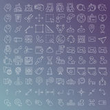 100 wektorów kreskowych ikon ustawiających Obraz Stock