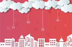 Wektorów miasta i chmury ilustracja wektor