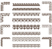 Wektorów ornamenty obramiają, kąty, granicy Zdjęcia Stock