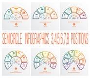 Wektorów półkól infographics szablony 3, 4, 5, 6, 7, 8 posi Fotografia Royalty Free