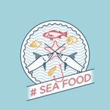 Wektorów swordfish żerdzi owoce morza kreskowa odznaka Fotografia Stock