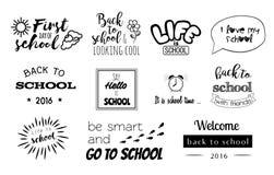 Wektorów szkolni majchery, logowie z kaligrafia elementami Obrazy Stock