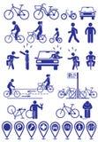 Wektorów ustalonych piktogramów infrastruktury rowerowe ikony Wektorowi rowerów akcesoria ustawiający Różnorodne kolarstwo pozy w royalty ilustracja