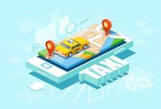 Wektor żółtej taksówki i GPS trasy punktu szpilki na smartphone ilustracji