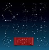 Wektor abecadła w gwiazdozbiorach i gwiazda kształtujemy Zdjęcie Stock