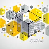 Wektor abstrakcjonistyczny geometryczny 3D sześcianu deseniowy i żółty backgrou ilustracja wektor