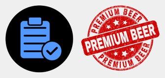 Wektor Akceptuje ochraniacza teksta ikonę i Grunge premii piwa znaczek ilustracja wektor