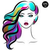 Wektor Akcyjna kobieta z Barwionym włosy Piękno dziewczyny portret z stubarwną fryzurą i kolczykami ilustracji