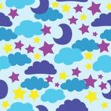 Wektor, błękit, słońce, księżyc, gra główna rolę i chmurnieje Bezszwowy deseniowy tło royalty ilustracja