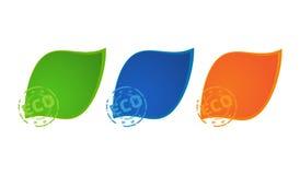 3 wektor barwiącej ikony zielenieją błękit i pomarańcze barwi z drukowym eco Zdjęcia Royalty Free
