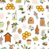 Wektor barwił bezszwowego wzór miód, pszczoła, bumblebee royalty ilustracja