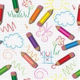 wektor bezszwowy wzoru Śliczni rysunki i ołówki na w kratkę tle ilustracji