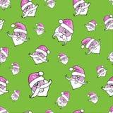 wektor bezszwowy wzoru Święty Mikołaj na zielonym tle ilustracja wektor