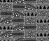 wektor bezszwowy wzoru Czarny i biały geometrical tło z ręka rysującymi dekoracyjnymi plemiennymi elementami Druk z etnicznym ilustracja wektor