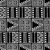 wektor bezszwowy wzoru Czarny i biały geometrical tło z ręka rysującymi dekoracyjnymi plemiennymi elementami Druk z etnicznym, fo ilustracja wektor