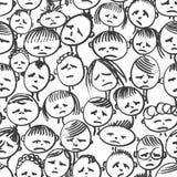wektor bezszwowy wzoru doodle Twarz w stresie ilustracja wektor