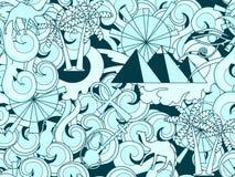 wektor bezszwowy wzoru egiptu Ręka rysujący doodle antyczny egipski eleme ilustracji