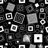 wektor bezszwowy wzoru Kwadraty i skrobaniny czarny white ilustracja wektor