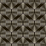 wektor bezszwowy wzoru Monochromatyczny złudzenie ornament z styli Obrazy Stock