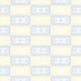 wektor bezszwowy wzoru Symetryczny geometryczny tło z błękitem i kolorem żółtym obciosuje na białym tle ornament dekoracyjny ilustracji
