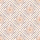 wektor bezszwowy wzoru Symetryczny geometryczny tło z kolorowymi ukośnikami i okręgami na różowym tle Dekoracyjny orname royalty ilustracja