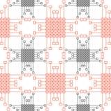 wektor bezszwowy wzoru Symetryczny geometryczny tło z kwadratami i liniami czerwonymi i czarnymi Dekoracyjny wielostrzałowy ornam royalty ilustracja