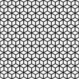 wektor bezszwowy wzoru Sześcian tekstura Czarno biały tło Monochrom siatki kreskowy kubiczny projekt royalty ilustracja