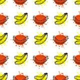 wektor bezszwowy wzoru Wręcza patroszoną owoc ilustrację banan i arbuz z pluśnięciem i kroplą, na białym tle Zdjęcie Stock