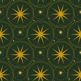 wektor bezszwowy wzoru Złote gwiazdy na ciemnozielonym tle royalty ilustracja