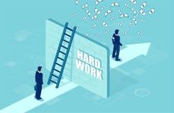 Wektor biznesmen oddzielał ścianą od pomyślnego przedsiębiorcy pod pieniądze deszczem ilustracji