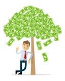 Wektor biznesmen z pieniądze drzewem ilustracja wektor