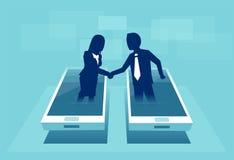 Wektor biznesmeni trząść ręki przez pokazu mądrze telefon ilustracja wektor