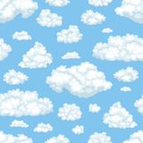 Wektor chmurnieje w niebieskie niebo bezszwowym wzorze ilustracji