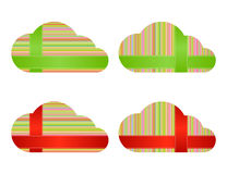 Wektor chmurnieje z stubarwnymi horyzontalnymi i pionowo liniami z przecinać rok Obrazy Stock