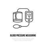 Wektor cienka kreskowa ikona ciśnienie krwi pomiar Szpital, klinika liniowy logo Konturu tonometer symbol, medyczny ilustracja wektor