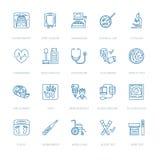 Wektor cienka kreskowa ikona sprzęt medyczny, badanie Medyczny badania kontrolne, próbny element - MRI, promieniowanie rentgenows Obrazy Stock