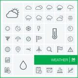 Wektor cienkie kreskowe ikony ustawiać Pogoda ilustracji