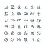 Wektor cienkie kreskowe ikony ustawiać z Logistycznie, doręczeniowym biznesem, dystrybucja konturu symbole royalty ilustracja