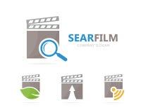 Wektor clapperboard i loupe loga kombinacja Kinowy i powiększający - szklany symbol lub ikona Unikalny wideo i rewizja Obraz Stock