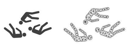Wektor 2D siatki Nieżywi ludzie i Płaska ikona ilustracji