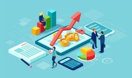 Wektor dane analizy pojęcie z drużyną biznesmeni r pomyślnego biznes używać technologię ilustracja wektor