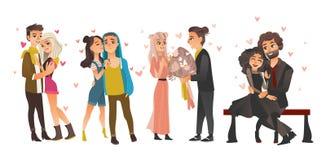 Wektor dobiera się w miłości przy valentine ` s dniem Zdjęcia Stock