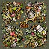 Wektor doodles kreskówkę ustawiającą diet karmowe kombinacje przedmioty i elementy Fotografia Stock
