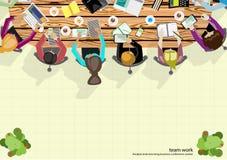 Wektor drużyny pracy biznesmena Brainstorming analiza marketingowy plan Zdjęcie Stock