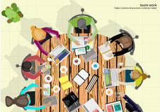 Wektor drużyny pracy biznesmena Brainstorming analiza marketingowy plan Zdjęcie Royalty Free