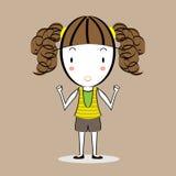 Wektor dysponowana dziewczyny kreskówka Zdjęcie Royalty Free