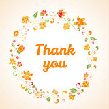 Wektor dziękuje ciebie karcianego z kwiat ramą Obraz Royalty Free