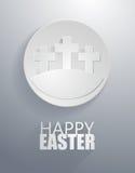 Wektor: easter szarość krzyża okręgu ikony z papieru cięciem projektują ilustracji